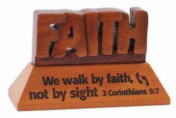Faith Christian wood mahogany desktop gift 10cm we will walk by faith Corinthians ornament