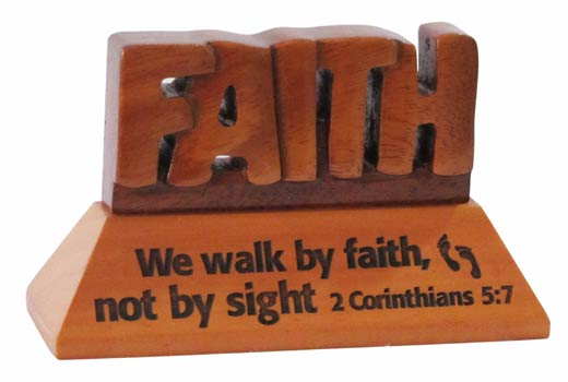 Faith Christian wood mahogany desktop gift 10cm we will walk by faith Corin