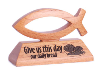Give us this day our daily bread wooden Christian fish desktop gift 10cm long Matthew 6:11