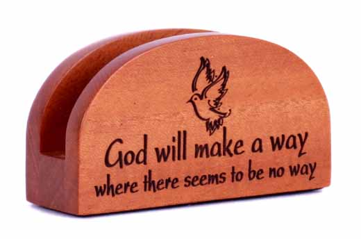 God will make a way Business card holder wooden Christian office desk gift