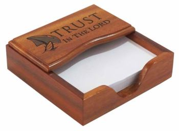 Wooden Trust in the Lord Christian desktop note pad gift office ornament desk