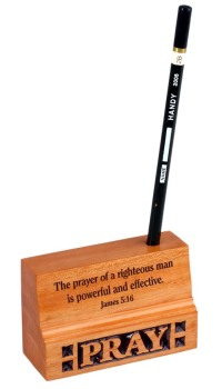 The prayer of a righteous man wood Christian office gift desk ornament pencil pen holder Pray