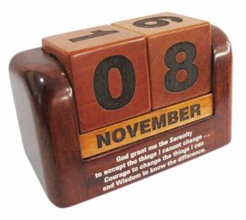 Christian desktop gift solid wooden perpetual calendar - Serenity prayer 10cm wide
