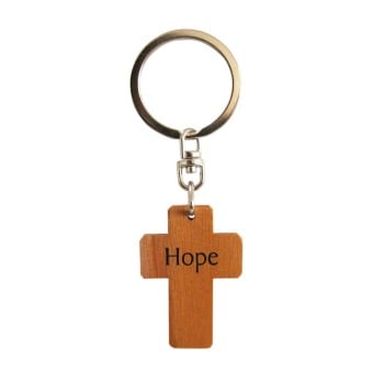 Hope brown wooden Christian keyring cross gift