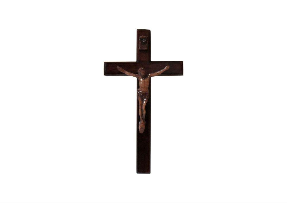 10cm wooden mahogany magnet corpus cross crucifix brown wood fridge gift