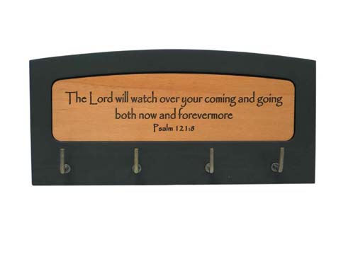 The Lord will watch over wood Christian gift wall key holder hooks Psalm 12