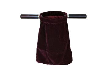 "Dark red velvet church offering bag 14"" (35cm) long with wooden handles Communion Tithe maroon"