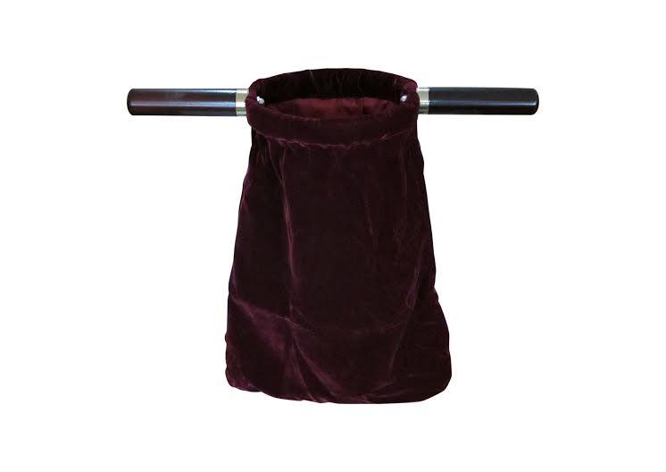 """Dark red velvet church offering bag 14"""" (35cm) long with ... Offering Bags"""