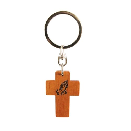 Praying hands brown wooden Christian keyring cross gift