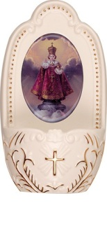"Porcelain Infant of Prague child Jesus small Holy water font 5"" florentine collection"