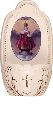 Porcelain Infant of Prague child Jesus small Holy water font 5