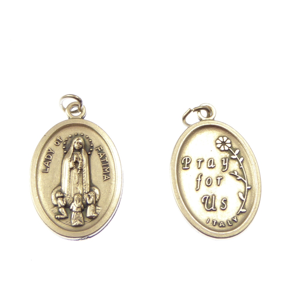 Silver metal Our Lady of Fatima medal pendant 2cm