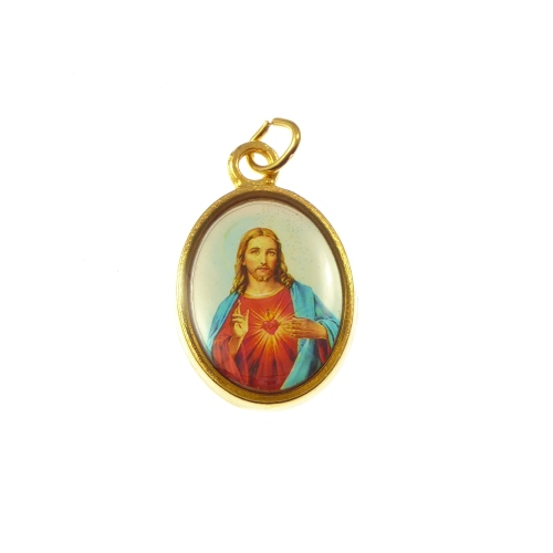 Rosary medal - Sacred heart image in gold colour metal