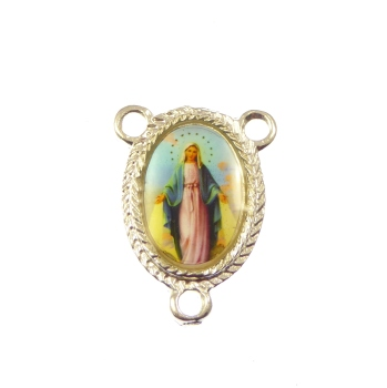 Rosary center - Miraculous image silver colour 25mm
