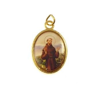 Catholic rosary medal - St. Francis image - gold