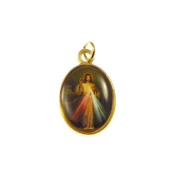 Rosary medal - Divine Mercy image - gold