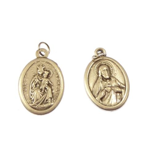 Virgin of Carmel & Sacred Heart silver metal medal rosary beads pendant