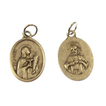 Silver metal St. Lucy medal pendant