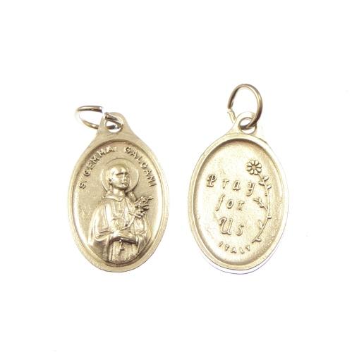 St. Gemma Galgani medal pendant - silver colour metal 2cm