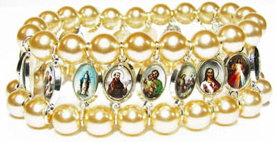 Beautiful pearl coated glass beads with catholic medals