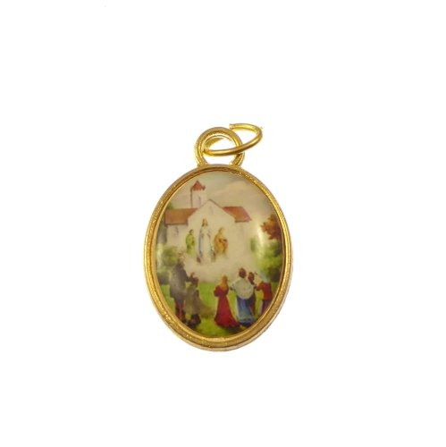 Gold Our Lady of Knock rosary medal 2.5cm
