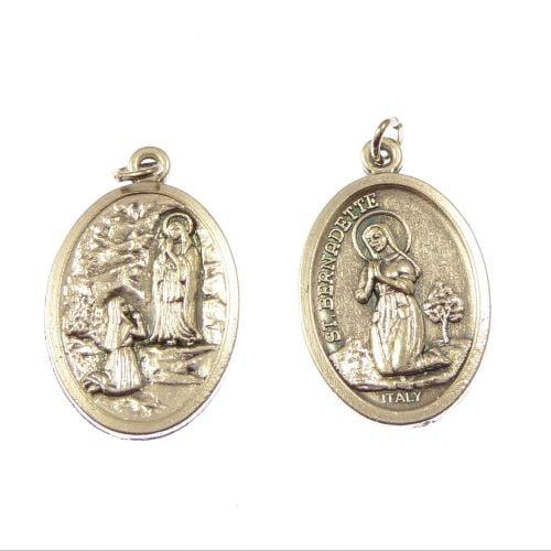 Rosary medal - St. Bernadette  - silver metal