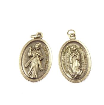 Divine Mercy Jesus and Our Lady of Guadalupe silver metal medal 2cm