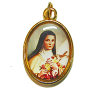 Rosary medal - St. Therese of Lisieux image gold colour