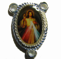 Rosary center -Divine Mercy image - silver finding 25mm