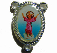 Rosary center - Silver Divine Child image 25mm