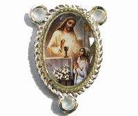 Rosary center - First Holy Communion - Girl image silver 25mm