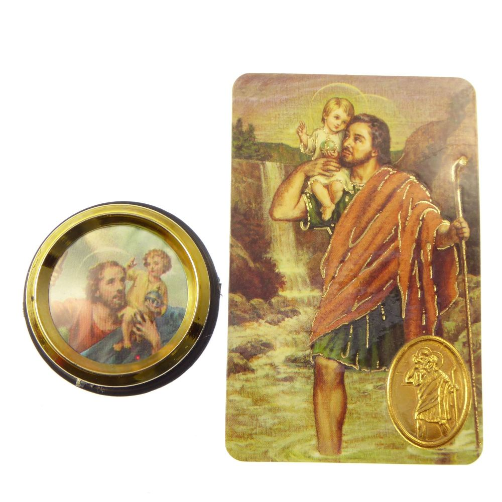 St. Christopher car plaque gift magnet adhesive gold + prayer card colour p