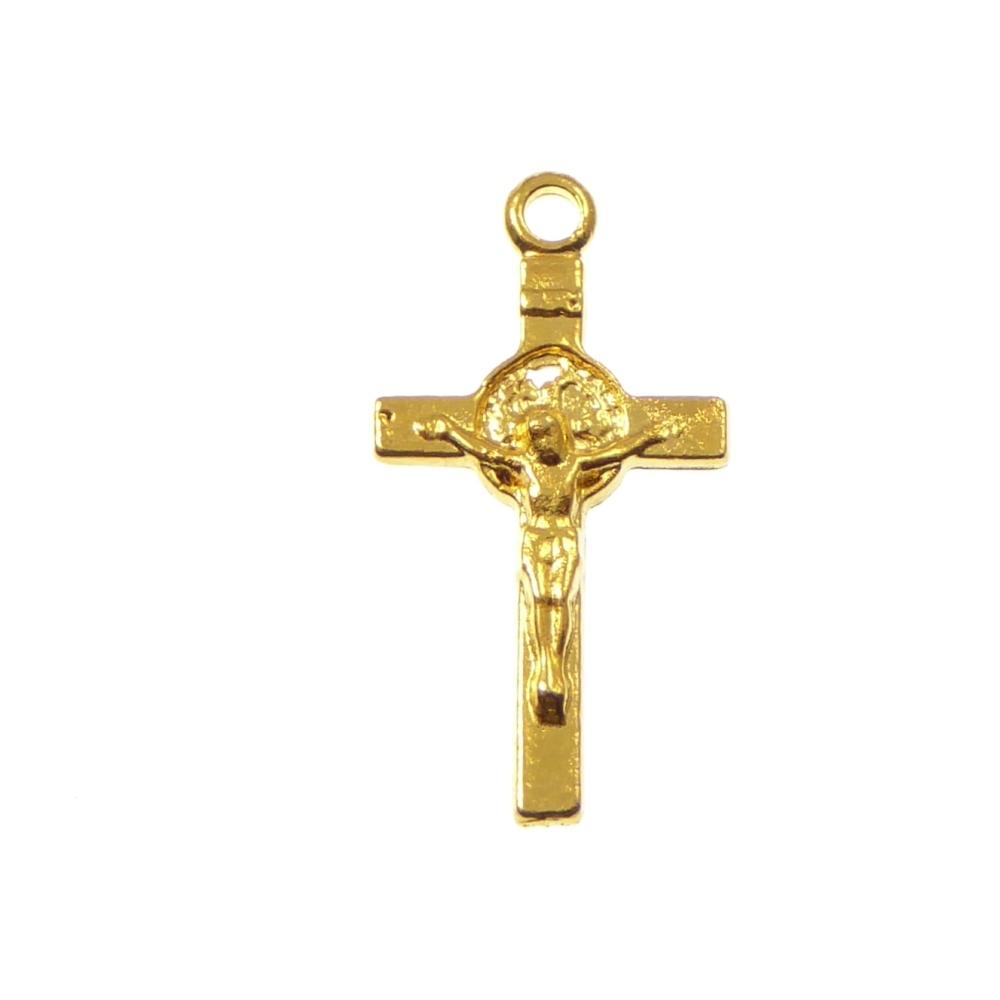 Catholic St. Benedict gold tone metal small crucifix cross pendant 2cm