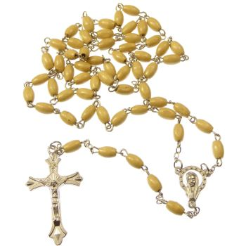 Light Brown wood oval rosary beads necklace 55cm silver center