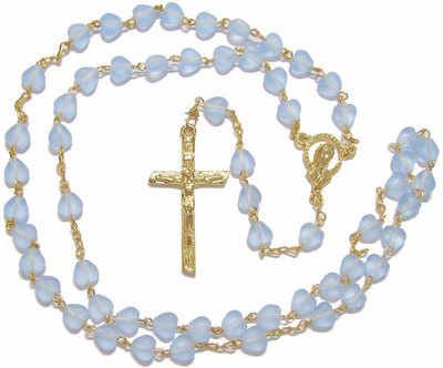 Light sapphire blue colour heart shaped rosary beads