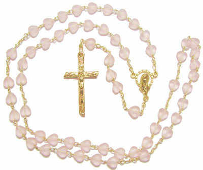 Catholic rosary beads - matte glass pink heart beads
