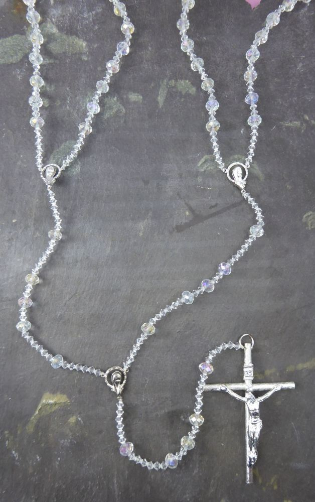Lasso wedding rosary beads - Bicone glass