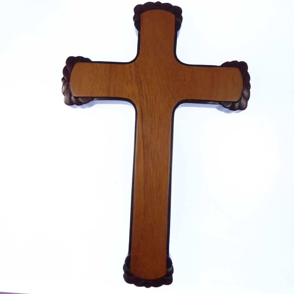Christian brown wood wooden Cross 25cm Hanging wall large decorative mahoga