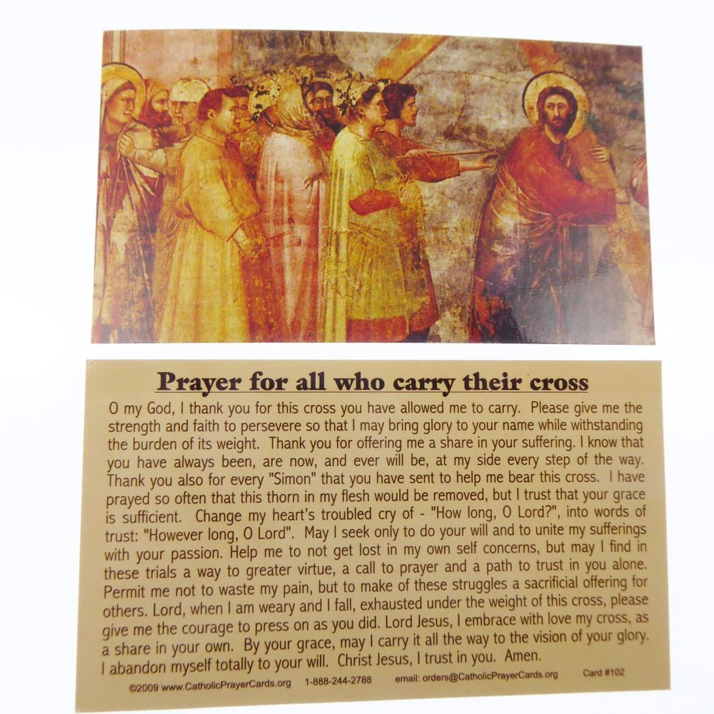 Catholic prayer card Prayer for all who carry their cross wallet size lamin