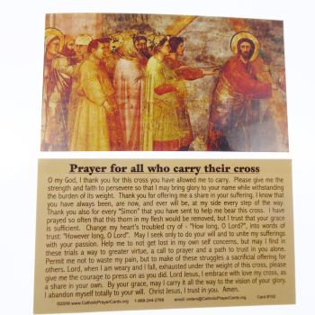 Catholic prayer card Prayer for all who carry their cross wallet size laminated