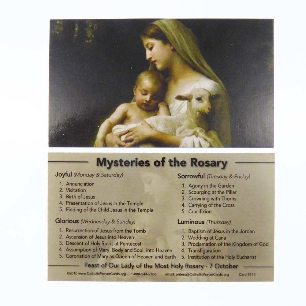 Mysteries of the Rosary Our Lady Catholic prayer card Joyful Glorious Sorro