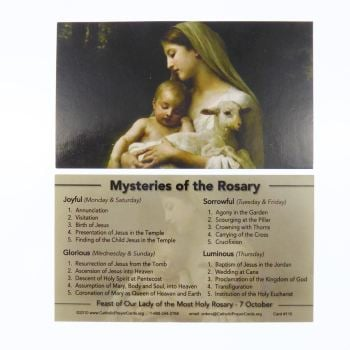 Mysteries of the Rosary Our Lady Catholic prayer card Joyful Glorious Sorrowful