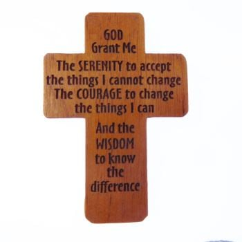 Serenity Prayer brown wooden 5cm pocket crucifix Christian gift lasered cross