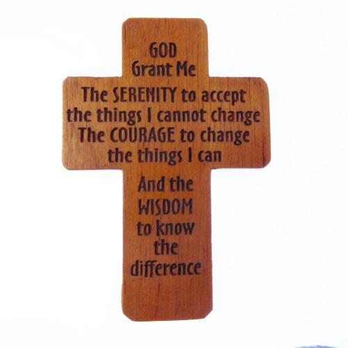 Serenity Prayer brown wooden 5cm pocket crucifix Christian gift lasered cro