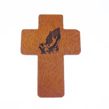 Praying hands image brown wooden 5cm pocket crucifix Christian gift lasered cross