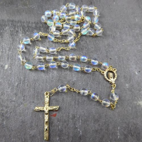Round clear iridescent glass rosary beads 45cm gold chain center crucifix 6