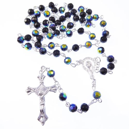 Iridescent long black glass rosary beads silver metal crucifix