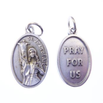 Silver metal St. Joan of Arc medal pendant