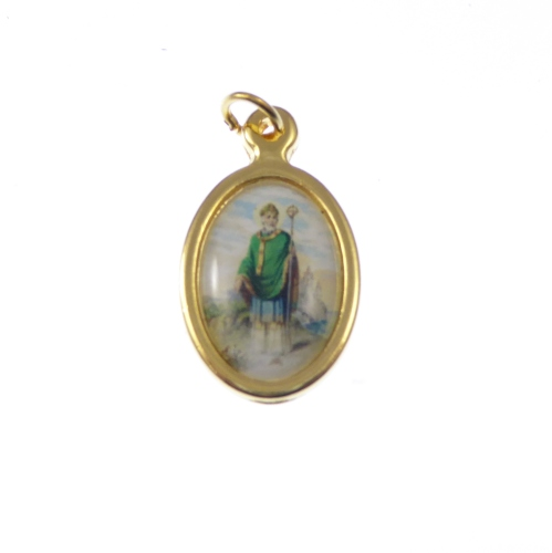 2.5cm gold St. Patrick medal in colour Catholic pendant for rosary beads