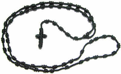 Black knotted cord rosary beads necklace